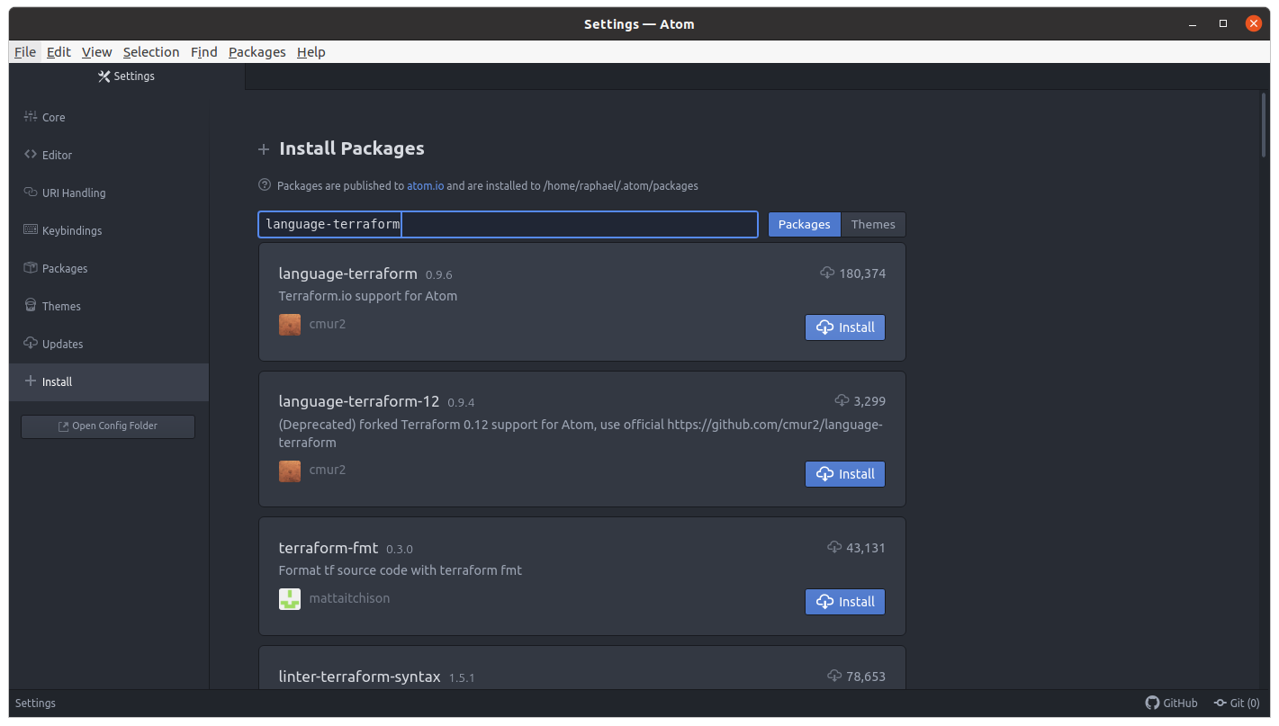 image of terraform package