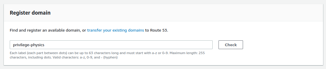 image of route53 UI domain search